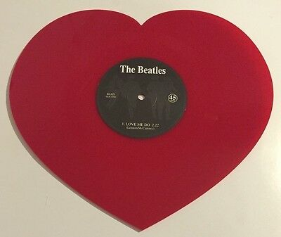 THE BEATLES LOVE ME DO & P.S.  LOVE YOU RED SHAPED VINYL RECORD