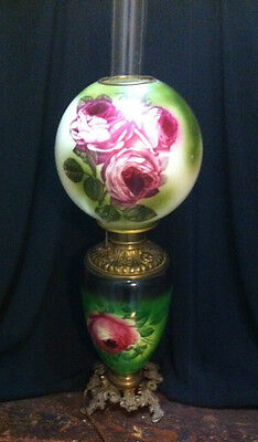 Big and Beautiful Antique Gone with the Wind Lamp - Electric