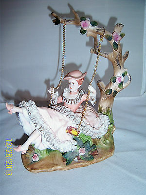 Antique Porcelain LADY on a SWING Musical Fine Details Bisque DresdenLace 9x7in