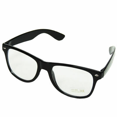 NO LENS GLASSES black plastic lenseless frame specs Geek Fancy dress ...