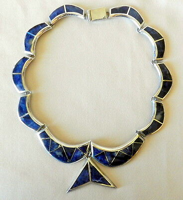Vtg Taxco Mexico 950 Silver Fish Tail Inlaid Necklace Sodalite/lapis Sterling