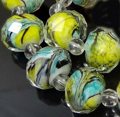 14 Czech glass Faceted Rondelle Beads - Yellow Turquoise Blue Swirl 12x8mm