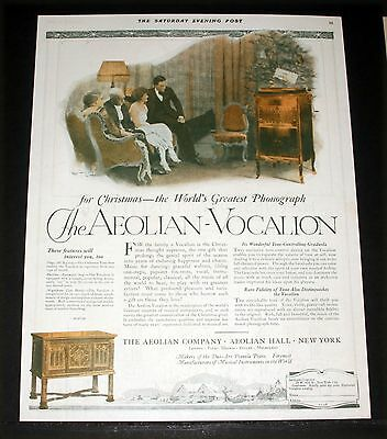 1920 Old Magazine Print Ad, Aeolian-Vocalion Phonograph For Christmas, Tree Art!