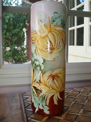 ANTIQUE VIENNA AUSTRIA HAND PAINTED SIGNED VASE, YELLOW MUMS, 12 1/2""
