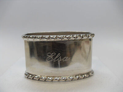 "Continental Silver (.800) Napkin Ring, Mono ""ELSA"", Maker & Country Unknown"