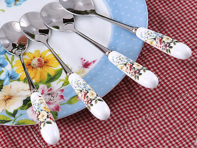 Creative Tops Katie Alice English Garden Porcelain Handled Tea Spoons, Set of 4