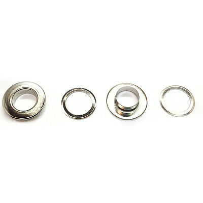 50 or 100 x 15mm Silver Eyelets with Washers for Banners Flat Head Type UK