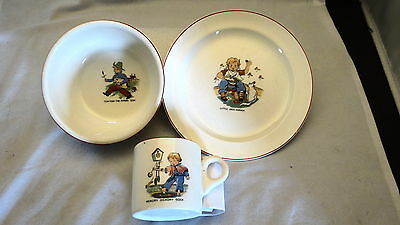 ANT. CHILD'S 3 PC.PLACE SET HICKORY DICKORY & TOM TOM THE PIPERS SON,JACK HORNER