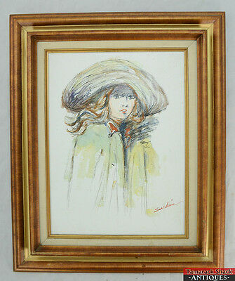 Vintage Pen Oil Painting on Canvas Portrait Woman Girl Signed Sardim Framed