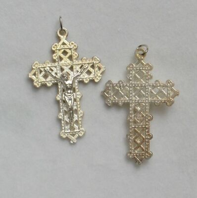 Crucifix, 40mm Metal Cross & Corpus Silver Plate Pendant, Quality Made in Italy.