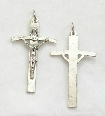 Trinity Crucifix, 55mm Silver Tone Metal Crucifix Pendant, Quality Made In Italy