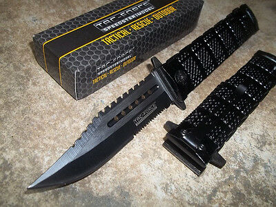 TAC-FORCE Assisted Opening Sawback Bowie Rescue Black Glass Breaker Knife NEW!!!