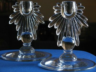 2) NEW MARTINSVILLE - TEARDROP - CANDLE STICK HOLDER (S)  Flame VGC