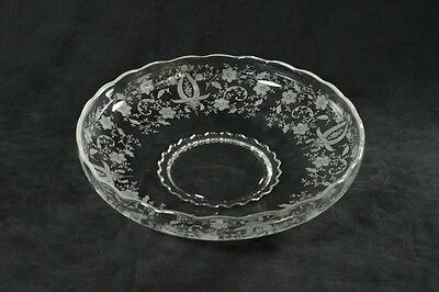 """New Martinsville Prelude Etched 13in Float Bowl, Viking Glass, Large 13"""" Round"""