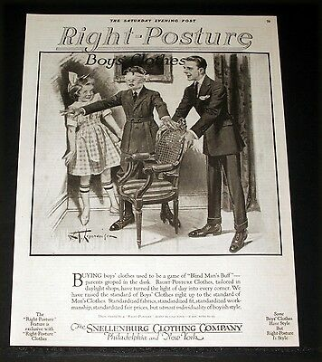 1920 Old Magazine Print Ad, Snellenburg Boys Posture Clothes, Leyendecker Art!
