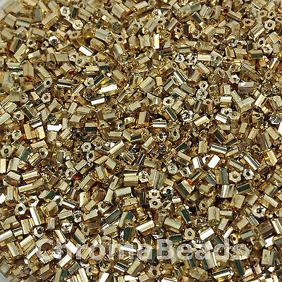 50g glass HEX seed beads - Gold Metallic - size 11/0 (approx 2mm) 2-cut