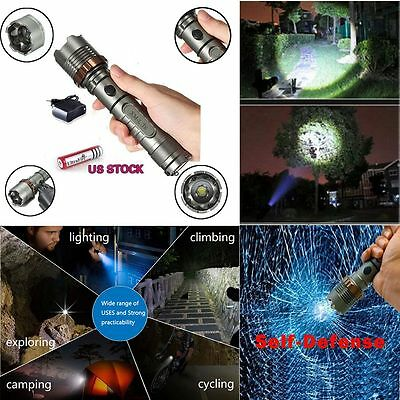 2000Lm Rechargeable Tactical CREE XML T6 LED Flashlight Torch +18650+Charger USA