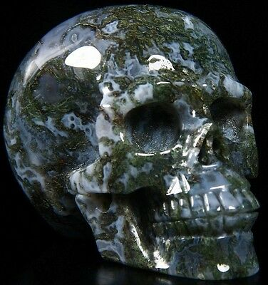 "2.4"" GREEN MOSS AGATE Carved Crystal Skull, Realistic, Crystal Healing, #338"