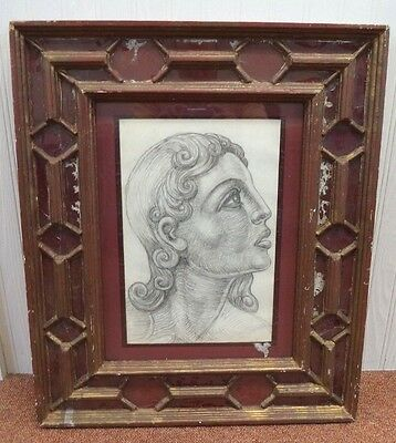 Stunning Vintage Estate Mid Century Pencil Art Drawing In Glass Window Frame!!!