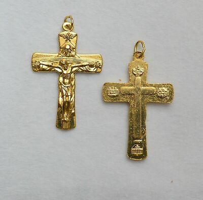 Trinity Crucifix 40mm, Gold Tone Cross & Corpus Pendant, Quality Made in Italy