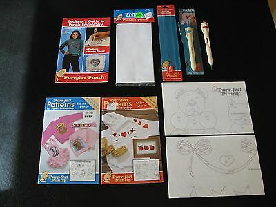 Lot of Purr-fect Punch Embroidery Pattern Book Needle Threaders Fabric