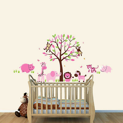 Animal Wall Decal, Safari Tree Wall Stickers, Elephant Decal, Hippo, Giraffe