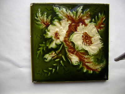 vintage Victorian ceramic tile, 6 inches by 6 inches