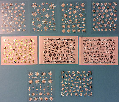 Snowflakes Nail Art 3D Decal Stickers Christmas Holidays Winter