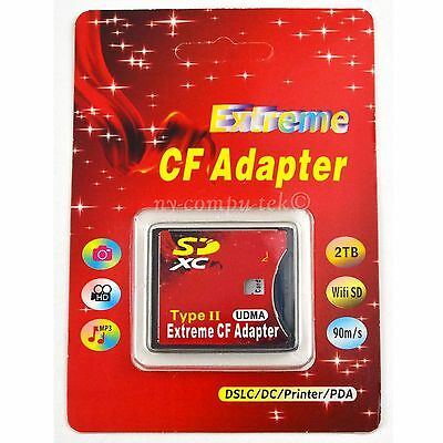 Extreme SD SDHC SDXC To CF Type II 2 Compact Flash Memory Card Adapter Reader
