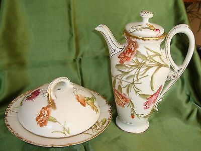LIMOGES T&V HAND PAINTED COFFEE POT & PANCAKE DISH, PLATE, SET, CARNATION & GOLD