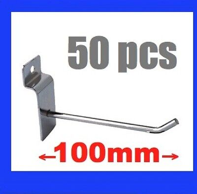 50 New Metal Slatwall Slat Wall Board Hooks 10cm