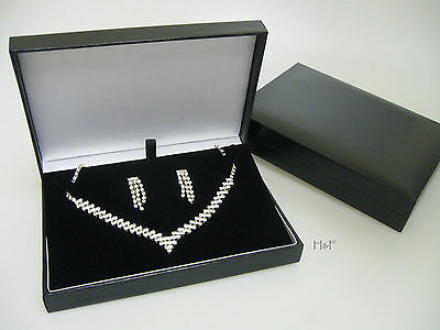 Black Leatherette Necklace Jewellery Gift Box Case Space For Earrings