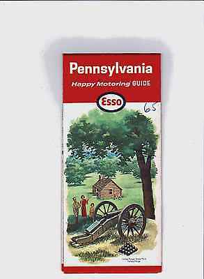 1965 ESSO HUMBLE OIL Road Map PENNSYLVANIA Valley Forge Pittsburgh Philadelphia