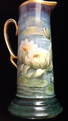 LARGE VINTAGE PAINTED CHINA PITCHER. WATERLILIES. SIGNED.