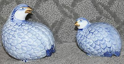 Andrea by Sadek Birds Quail Mother & Young Bird Porcelain Blue Figurines NICE