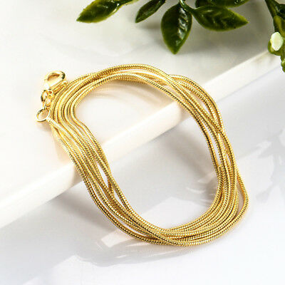 Wholesale Top Selling Women Men 1.2mm 1pc 18K Gold Filled snake Chain Necklace