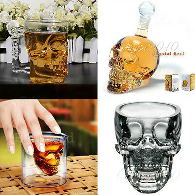 Crystal Skull Head Vodka Whiskey Shot Glass Empty Bottle Beverage Cup Decanter #