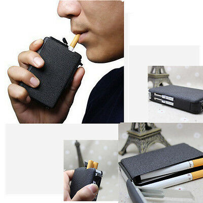 Cigarette Case & Lighter Automatic Ejection Butane Windproof Metal Box Holder PS