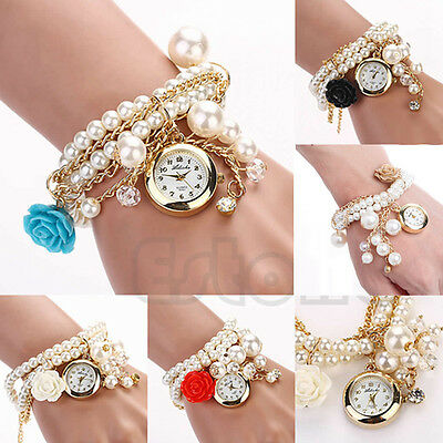 Women Faux Pearl Rose Flower Bracelet Wrist Quartz Analog Girls Round Dial Watch