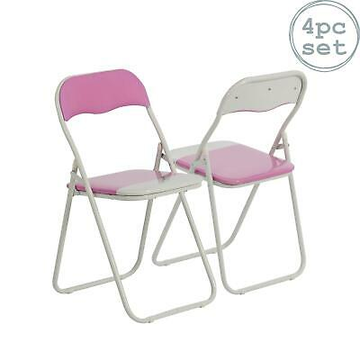 4 x Harbour Housewares Pink / White Padded, Folding, Desk, Guest Chairs