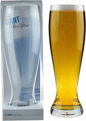 Giant Beer Party Glass. Fathers Day Dad Gift. Gift Boxed. 1600ml (2.5Pints)