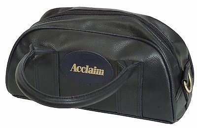 ACCLAIM Cwmbran Traditional Two Bowl Bag Navy Blue Handles Zip Top Leather Look