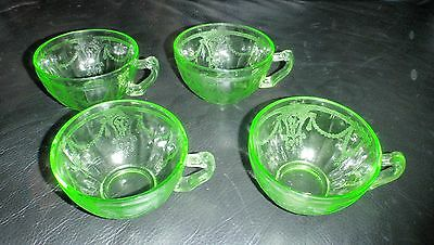 Depression Glass 4 Green Coffee Cups Scroll Pattern Tea cups Set of Four Vintage