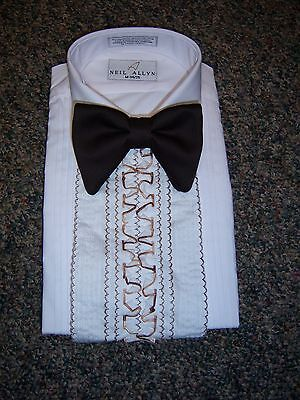Vintage Men's Tuxedo Shirt - Brown & White Detachable Flat Ruffles / Dickie