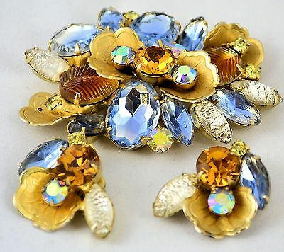 Estate Vintage Costume Blue Orange and White Pin & Earring Rhinestone Set