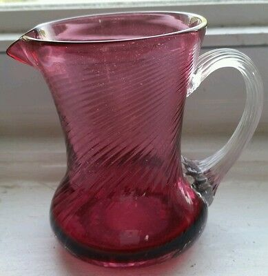 PILGRIM CRANBERRY GLASS HANDMADE WITH GOLD IN USA PITCHER APPLIED HANDLE