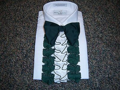 Vintage Men's Tuxedo Shirt - Hunter Green & White  Detachable Ruffle / Dickie 3D