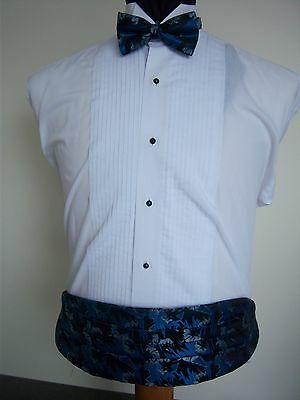 Black and Blue Formal Cummerbund & Bow tie set -  men's one size fits most