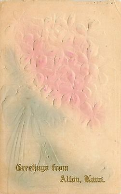 Alton Kansas~Flower Bouquet Greetings~Airbrushed and Embossed~Gold Font~1908 pc