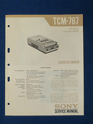 Sony Tcm-787 Cassette Service Manual Original Factory Issue Good Condition